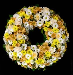 Trauerkranz gelb /weiß Friedhof Göggingen